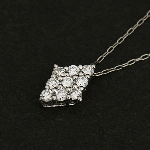 18金 ダイヤモンド0.1ct ダイヤ型ネックレス 9石 0.1カラット ペンダント K18WG ホワイトゴールド ダイアモンド レディース プレゼント ギフト 記念日 誕生日