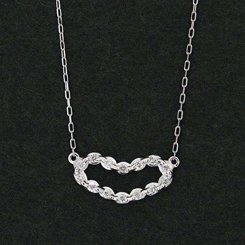 18金 ダイヤモンド0.1ct ハートネックレス 大人ハート 0.1カラット ペンダント K18WG ホワイトゴールド ダイアモンド レディース プレゼント ギフト 記念日 誕生日