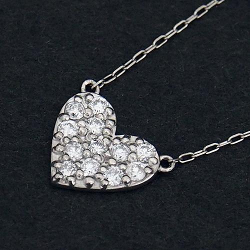 プラチナ ダイヤモンド0.2ct ハートパヴェネックレス 0.2カラット ペンダント Pt900 Pt850 ダイアモンド レディース プレゼント ギフト 記念日 誕生日