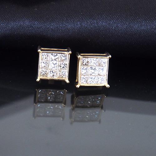 18金 ダイヤモンド1.0ct 片耳0.5ct ミステリーセッティング スクエアピアス K18WG ホワイトゴールド K18YG イエローゴールド ダイアモンド レディース プレゼント ギフト 記念日 誕生日