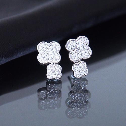 18金 ダイヤモンド0.3ct 片耳0.15ct ダブルフラワーパヴェピアス K18WG ホワイトゴールド K18YG イエローゴールド ダイアモンド レディース プレゼント ギフト 記念日 誕生日