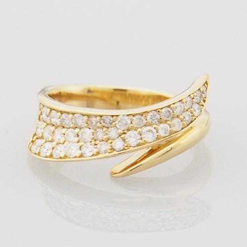 18金 ダイヤモンド 0.43ct パヴェ ピンキーリング 小指 小さいサイズ K18YG K18PG アシンメトリー 0.43カラット 4号~11号 指輪 ダイアモンド レディース プレゼント ギフト 記念日 誕生日
