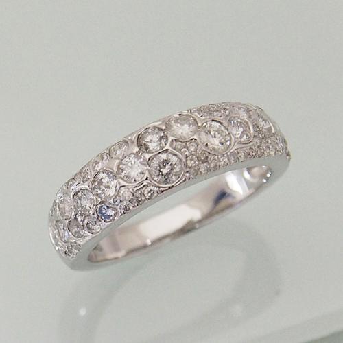 18金 ダイヤモンド 0.85ct ランダム セッティング リング パヴェ 幅広 0.85カラット 指輪 K18WG ホワイトゴールド ダイアモンド レディース プレゼント ギフト 記念日 誕生日