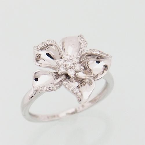 18金 ダイヤモンド 0.15ct フラワー ハイビスカス リング 0.15カラット 指輪 K18WG ホワイトゴールド ダイアモンド レディース プレゼント ギフト 記念日 誕生日