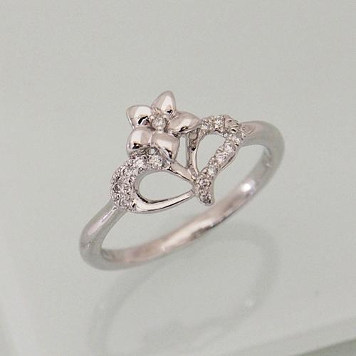 18金 ダイヤモンド 0.1ct 18金 ハート フラワー リング 0.1カラット 指輪 K18WG ホワイトゴールド 天然 ダイアモンド レディース プレゼント ギフト 記念日 誕生日