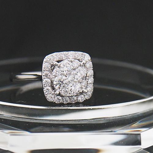 18金 ダイヤモンド 0.8ct スクエア リング プレッシャーセッティング 0.80カラット 指輪 K18WG ホワイトゴールド ダイアモンド レディース プレゼント ギフト 記念日 誕生日