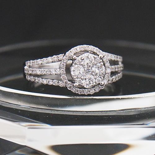 18金 ダイヤモンド 0.65ct ラウンド リング プレッシャーセッティング マイクロセッティング 0.65カラット 指輪 K18WG ホワイトゴールド ダイアモンド レディース プレゼント ギフト 記念日 誕生日