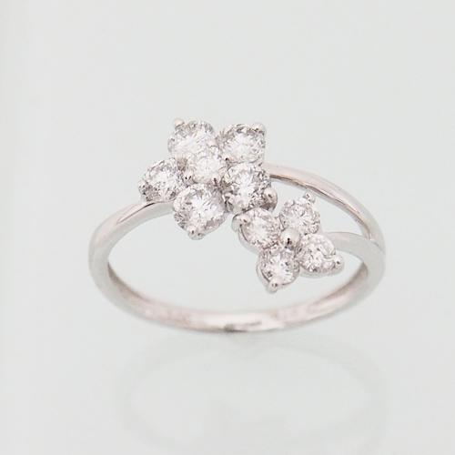 プラチナ ダイヤモンド 1.0ct ダブル フラワーリング Pt900 5弁 4弁 1.00カラット 指輪 ダイアモンド レディース プレゼント ギフト 記念日 誕生日