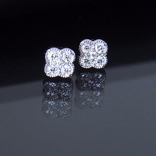プラチナ ダイヤモンド0.25ct 片耳0.125ct フラワーピアス 花 ミル打ち 4弁 Pt900 ダイアモンド レディース プレゼント ギフト 記念日 誕生日