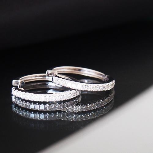 18金 ダイヤモンド 0.5ct 片耳0.25ct フープピアス プリンセスカット 輪っか 中折れ式 K18WG ホワイトゴールド K18YG イエローゴールド K18PG ピンクゴールド ダイアモンド レディース プレゼント ギフト 記念日 誕生日