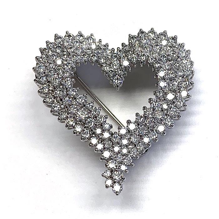 k18 ダイヤモンド 5.0ct オープンハート ブローチ ネックレス 18金 ホワイトゴールド K18WG ペンダント ダイアモンド レディース プレゼント ギフト 記念日 誕生日
