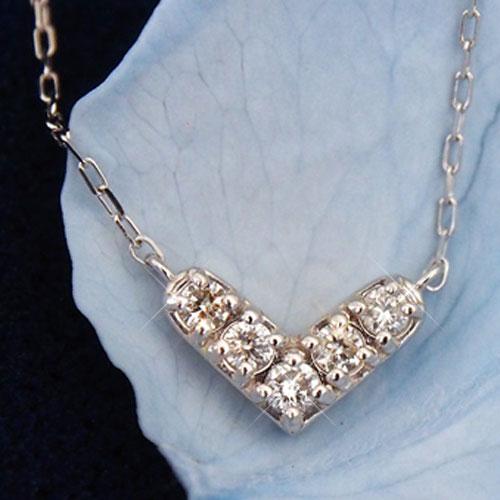 18金 ダイヤモンド0.1ct ハートネックレス 0.1カラット ペンダント K18WG ホワイトゴールド ダイアモンド レディース プレゼント ギフト 記念日 誕生日