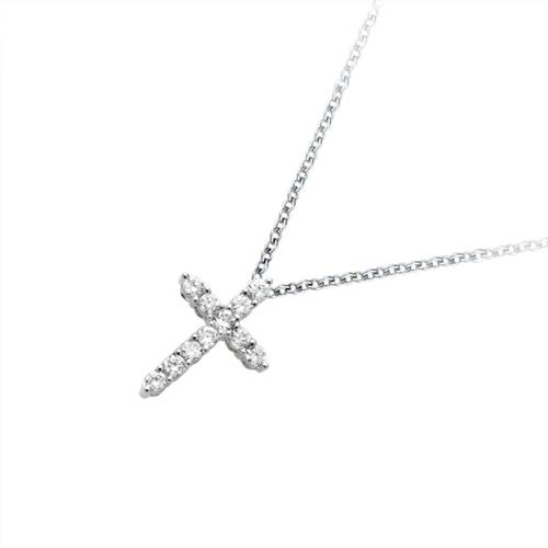 18金 ダイヤモンド 0.3ctネックレス クロス 十字 ペンダント 0.3カラット K18WG ホワイトゴールド K18PG ピンクゴールド ダイアモンド レディース プレゼント ギフト 記念日 誕生日