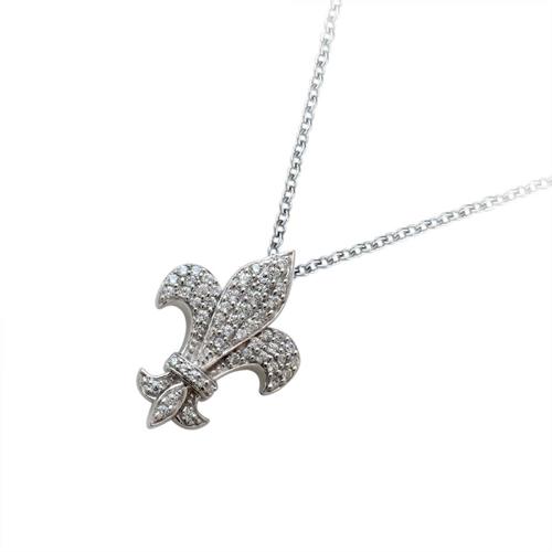 18金 ダイヤモンド0.35ctネックレス 百合の紋章 ペンダント 0.35ctカラット K18WG ホワイトゴールド ダイアモンド レディース プレゼント ギフト 記念日 誕生日