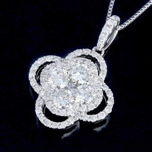 18金 ダイヤモンド0.8ct フワラーネックレス ペンダント 0.8ctカラット K18WG ホワイトゴールド ダイアモンド レディース プレゼント ギフト 記念日 誕生日