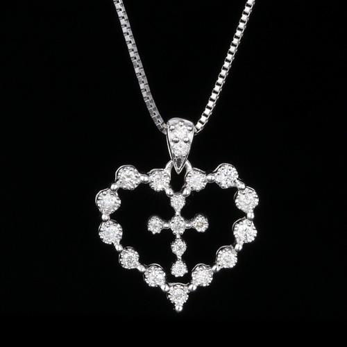 18金 ダイヤモンド ネックレス ハートクロス ペンダント 0.2ctカラット K18WG ホワイトゴールド ダイアモンド レディース プレゼント ギフト 記念日 誕生日