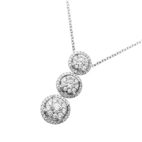 18金 ダイヤモンド1.1ct ネックレス スリーストーン ペンダント 1.10カラット K18WG ホワイトゴールド K18PG ピンクゴールド ダイアモンド レディース プレゼント ギフト 記念日 誕生日
