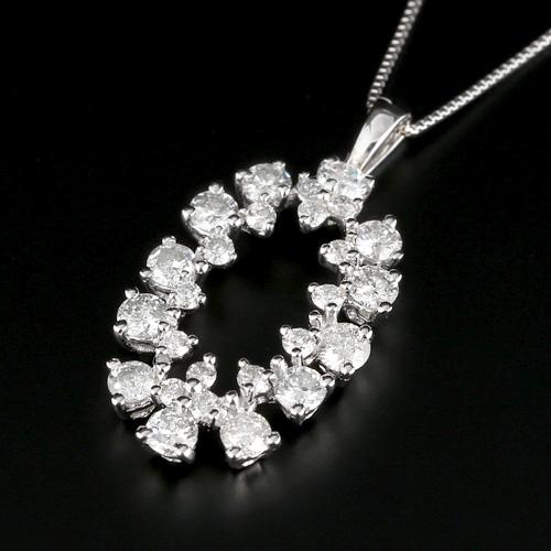 18金 ダイヤモンド1.25ct マーキス型ネックレス ペンダント 1.25カラット K18WG ホワイトゴールド K18YG イエローゴールド ダイアモンド レディース プレゼント ギフト 記念日 誕生日