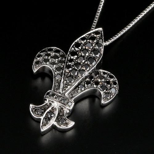 18金 ブラックダイヤモンド0.4ct 紋章ネックレス コンビ ペンダント 0.4カラット K18WG ホワイトゴールド プレゼント ダイアモンド レディース プレゼント ギフト 記念日 誕生日