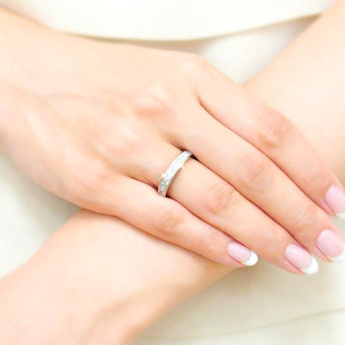 18金 ダイヤモンド ハーフエタニティリング プリンセスカット 1.0ctカラット K18WG ホワイトゴールド 幅広 指輪 ダイアモンド レディース プレゼント ギフト 記念日 誕生日