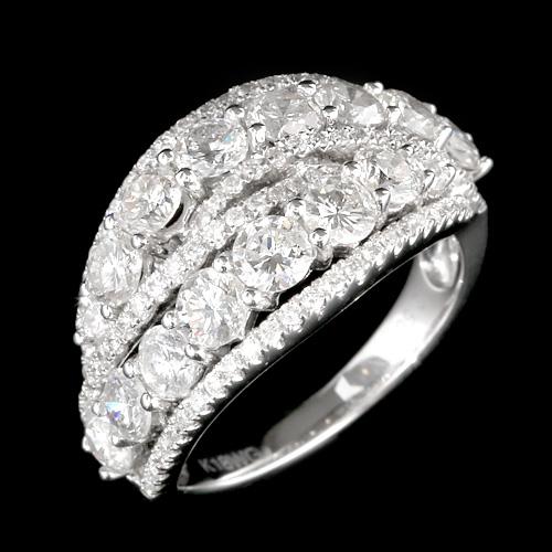 【20%OFF16日9:59まで】18金 ダイヤモンド 2.5ct ウェーブラインリング K18WG ホワイトゴールド 指輪 2.5カラット ダイアモンド レディース プレゼント ギフト 記念日 誕生日