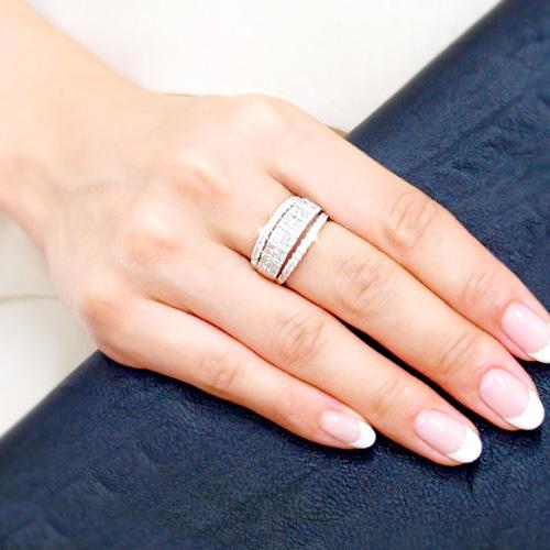 18金 ダイヤモンド プリンセスカットリング 2.0ctカラット K18WG ホワイトゴールド 幅広ゴージャス 指輪 ダイアモンド レディース プレゼント ギフト 記念日 誕生日