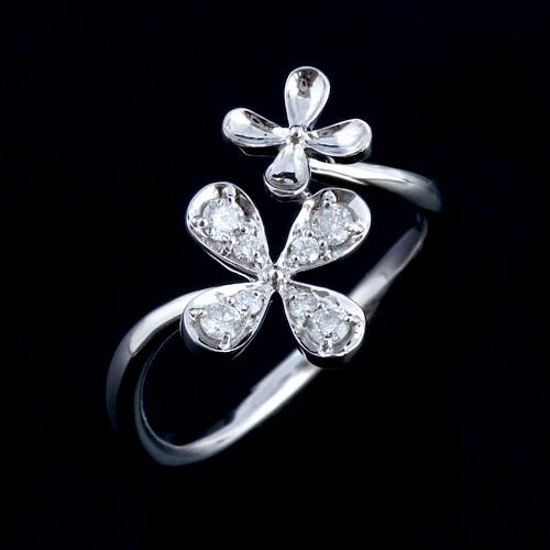 18金 ダイヤモンド0.2ct ダブルフラワーリング K18WG ホワイトゴールド 指輪 0.2カラット ダイアモンド レディース プレゼント ギフト 記念日 誕生日