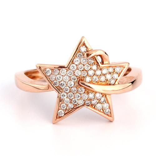 18金 ダイヤモンド0.2ct スターリング 星 K18PG ピンクゴールド 指輪 ダイアモンド レディース プレゼント ギフト 記念日 誕生日