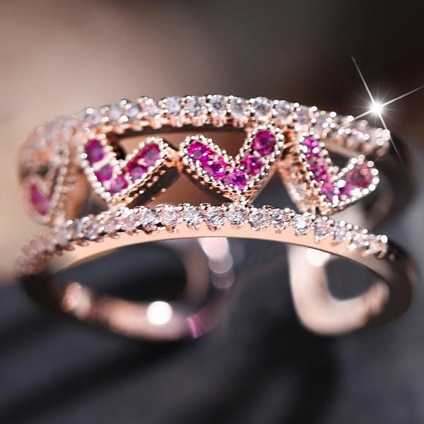 透明感のある美しい光沢が指先をスタイリッシュに リング 信憑 指輪 レディース スワロフスキー 金属アレルギー 期間限定特価品 K18金RGP フリーサイズ ハート