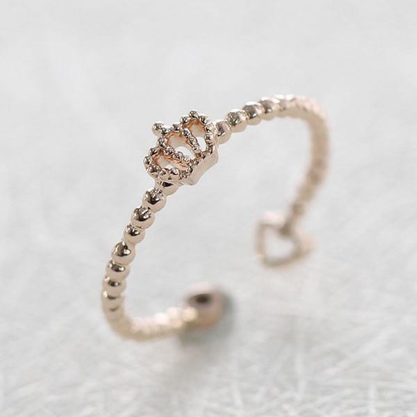 【上品であって遊び心も合わせ持つ、ロマンチックなデザインです。大切な日の贈り物としてお勧め♪】 指輪 リング レディース 女性 スワロフスキー 王冠 ティアラ 2WAY ピンクゴールド K18金RGP 金属アレルギー 3号~17号 フリーサイズ