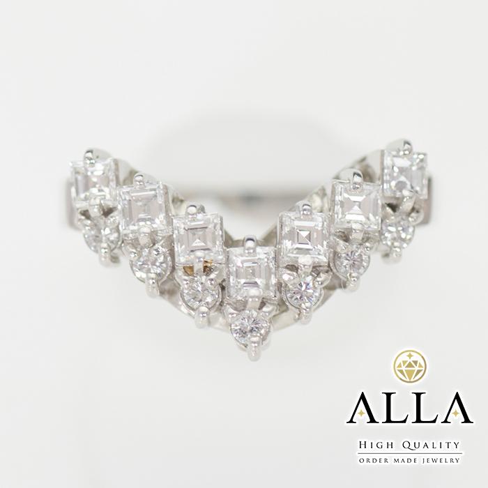 【中古】 ダイヤモンドリング Vライン Pt900 メレダイヤモンド 0.76ct SIクラス 18号 プラチナ アクセサリー 宝石 レディース 【磨き上げ済】