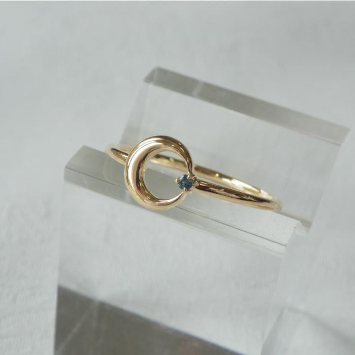 国内送料無料 K18YG エンフォルドムーンリング 当店は最高な サービスを提供します ロンドンブルートパーズ 華奢なリング 18金 月 指輪 ピンキーリング 三日月 イエローゴールド