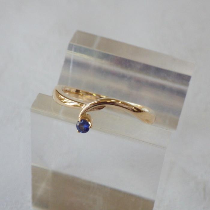 K18YG リンドウ サファイア 18金 指輪 売れ筋 春の新作 ゴールド 花