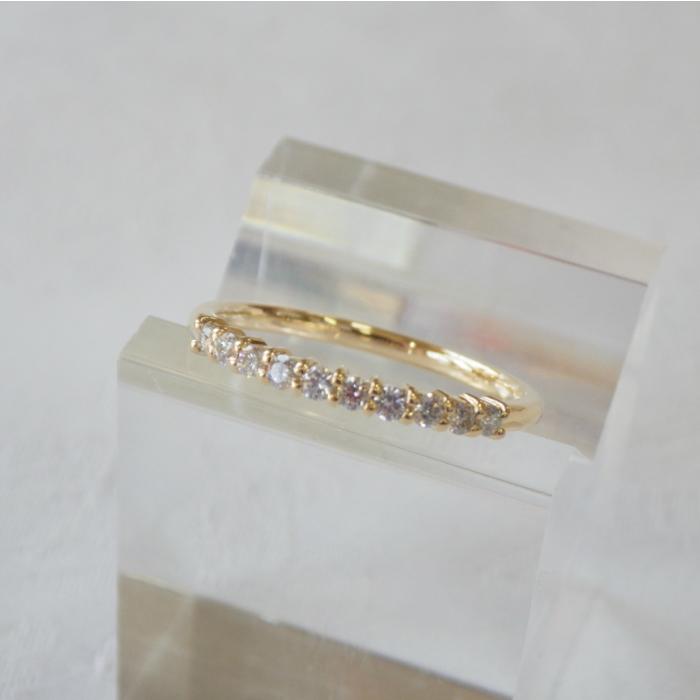 K18YG エタニティリング 0.2ct 華奢なリング 18金 ダイヤモンド ピンキーリング ゴールド 一文字リング 指輪