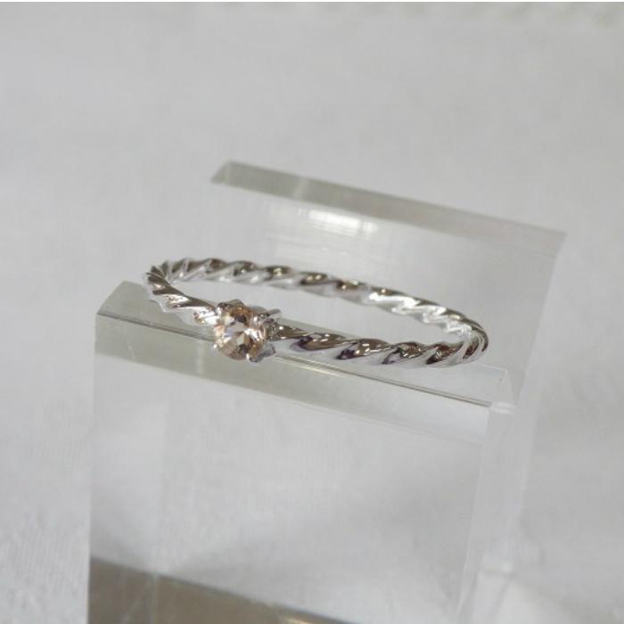 K18WG 2020モデル スクリューリングシャンパン水晶 華奢なリング 安心の実績 高価 買取 強化中 ピンキーリング シャンパン水晶 ホワイトゴールド 指輪