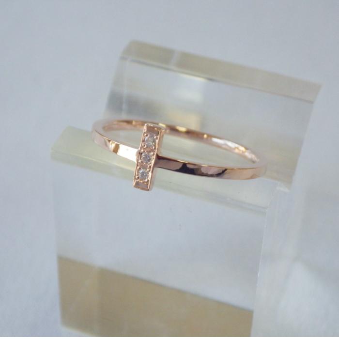 K18PG 実物 国産品 クロスダイヤリング 華奢なリング 18金 ピンキーリング クロス ダイヤ ピンクゴールド 指輪 十字