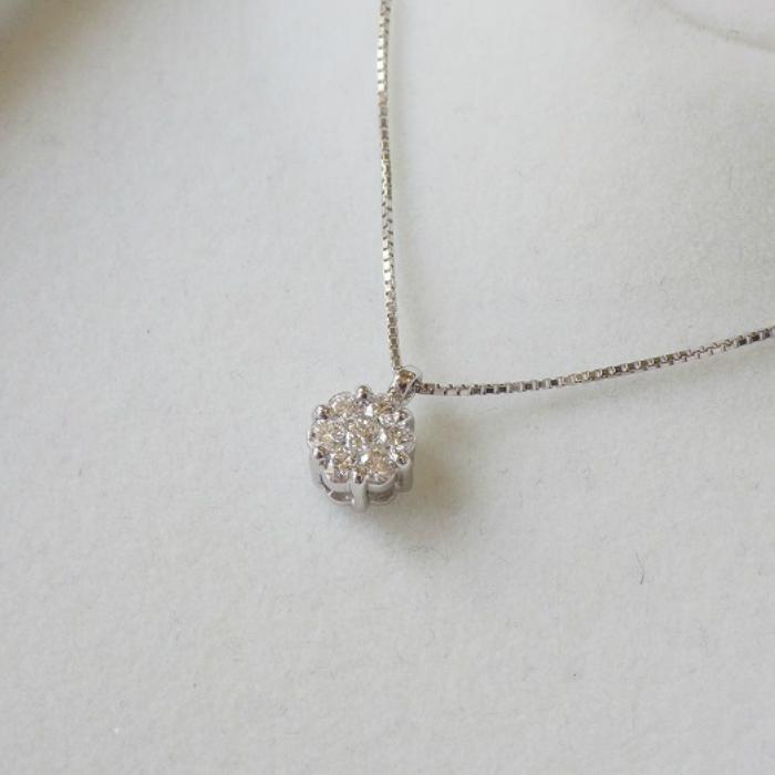 送料無料激安祭 安心と信頼 Pt900 お花ネックレス ダイヤ プラチナ 0.3ct ダイヤモンド