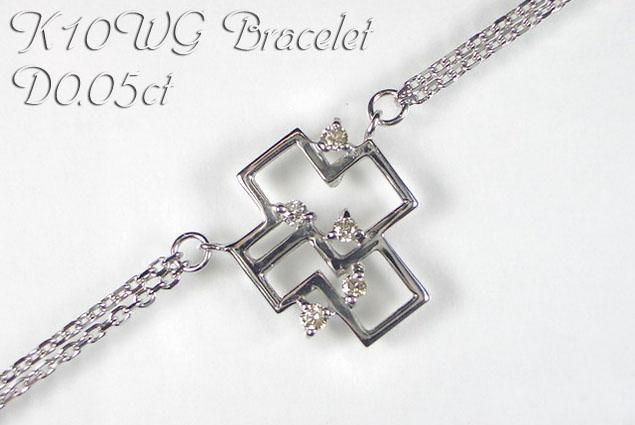 K10WG ホワイトゴールド ブレスレット クロス ダイヤモンド 0.05ct 18cm ギフト対応