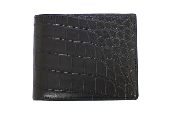送料無料 GREDEERクロコダイル 二折財布 GCKW002A-Z ブラック ギフト対応