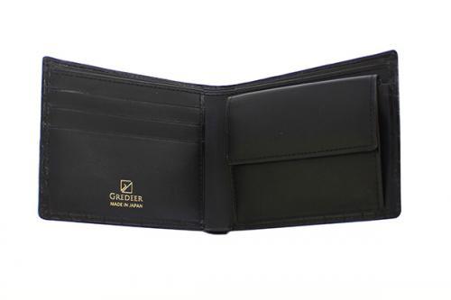 送料無料 GREDEERクロコダイル 二折財布 GCKW002A Z ブラック ギフト対応yvwNOm8n0