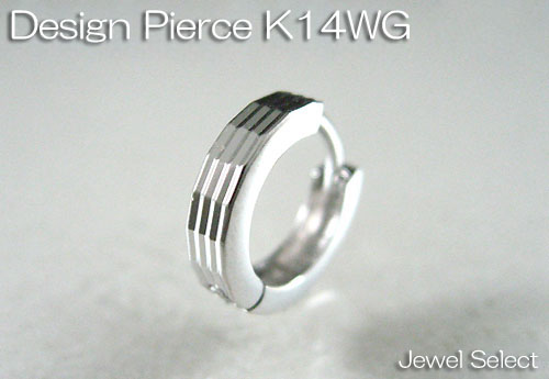 K14WG ホワイトゴールド ミラーカット エッジング ピアス片耳用 ギフト対応