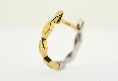 K18 イエローゴールド K18WG ホワイトゴールド コンビ馬蹄リングピアス片耳用 ギフト対応