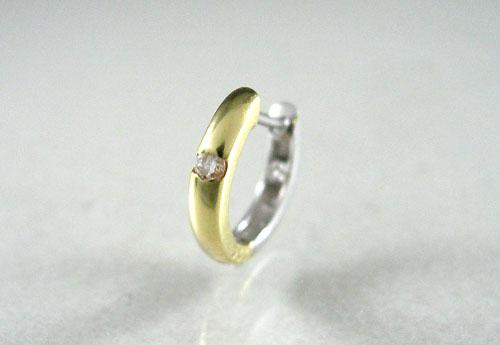 受注生産 K18 イエローゴールド K18WG ホワイトゴールド ダイヤモンド コンビ リングピアス片耳用 D0.06ct ギフト対応