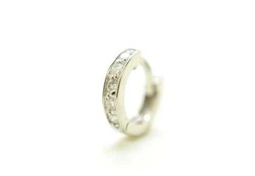 K18WG ホワイトゴールド ダイヤモンド ハーフエタニティー リングピアス片耳用 D0.05ct 小 ギフト対応
