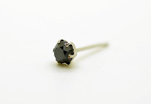 PT900 プラチナ ブラックダイヤモンド スタッドピアス片耳用 D0.15ct ギフト対応