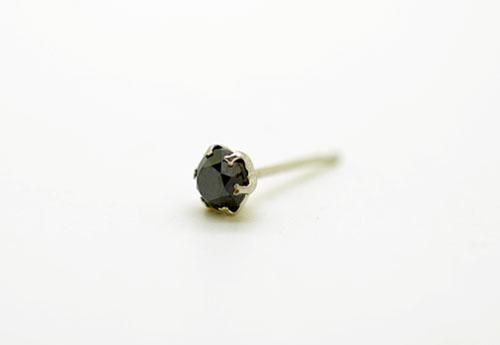 PT900 プラチナ ブラックダイヤモンド スタッドピアス片耳用 D0.10ct ギフト対応