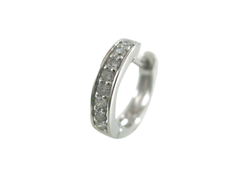 K18WG ホワイトゴールド ハーフエタニティー ダイヤモンド リングピアス片耳用 D0.10ct ギフト対応