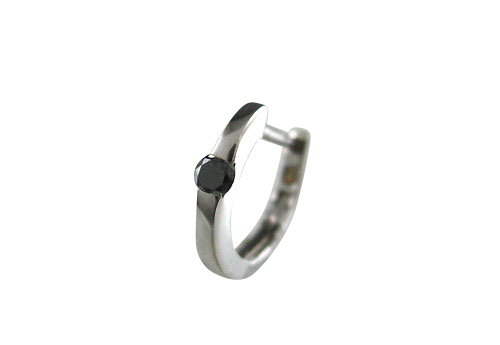 K18WG ホワイトゴールド ブラックダイヤモンド リングピアス片耳用 D0.04ct