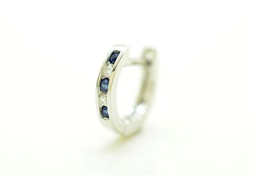 K18WG ホワイトゴールド ダイヤモンドD0.05ct サファイア0.07ct リングピアス片耳用 ギフト対応