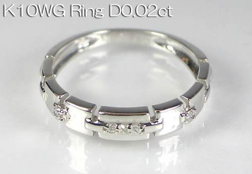 K10WG ホワイトゴールド ダイヤモンド ピンキーリング D0.02ct 指輪 ギフト対応